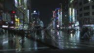 WS POV Streets at night seen from driving car, Tokyo, Japan