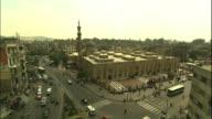 Streets of Cairo near street crossing (bird's-eye view). Long Shot