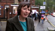 Frances O'Grady interview ENGLAND London EXT Striking workers on picket line outside St Pancras hospital / sign 'Official Picket' / Frances O'Grady...