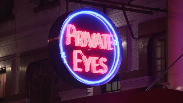 CU, Strip club Private Eyes neon sign, New York City, New York, USA