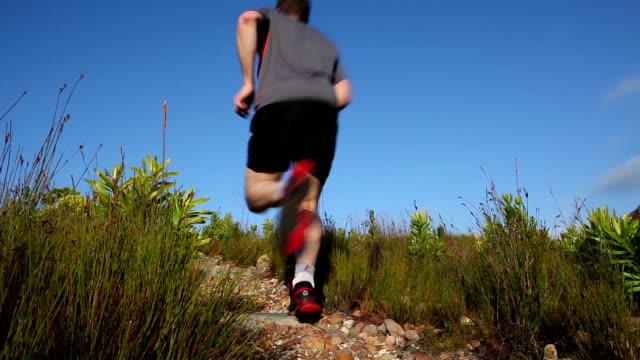 Strong male trail runner