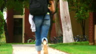 Student rushing to class