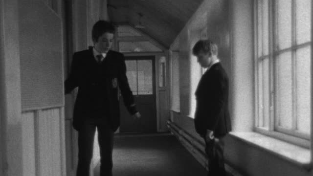 1976 B/W Student threatens another student / Liverpool, Merseyside, England