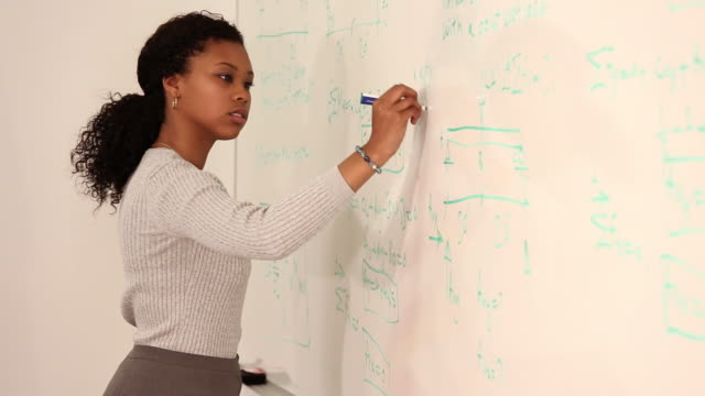 MS PAN Student  Writing Equations on Dry Erase Board in College Classroom / Richmond, Virginia, USA