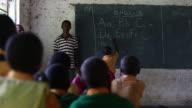 Student Writing On Chalkboard