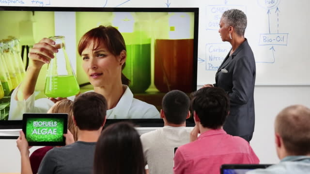 WS TU Students and Professor Video Conferencing with Scientist in Biology Laboratory / Richmond, Virginia, United States