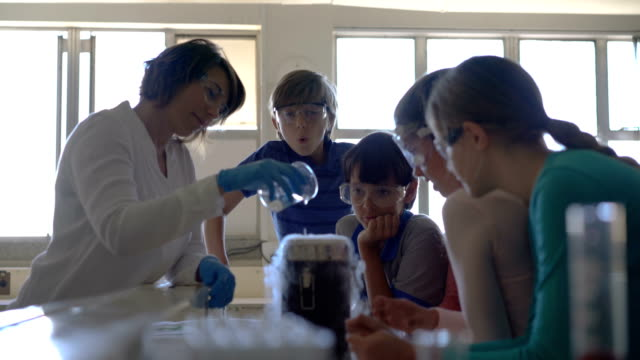 Students and teacher performing experiment in lab