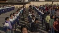 WS PAN Students exercising in front of school, Weishan, Yunnan, China