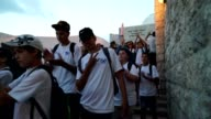 Students from the religious Zionist movement make their way to the Western Wall for the 50th Celebration They are singing Jerusalem of Gold