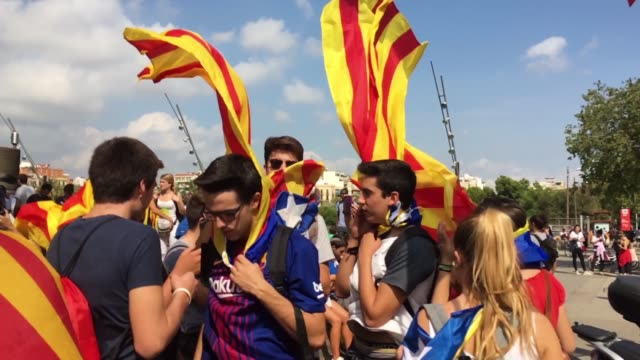 Students gather to protest Police violence on October 2 Barcelona Spain The Catalonian referendum vote took place on October 1 2017 in Barcelona...