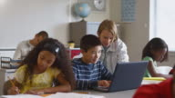 MS Students (8-13) in classroom, one boy using laptop in classroom / Edmonds, Washington, USA