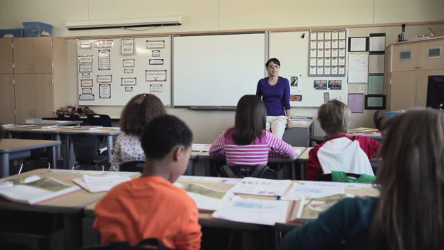 MS Students (8-11) listening to teacher raising hands to ask questions in elementary school classroom / University Place, Washington, USA