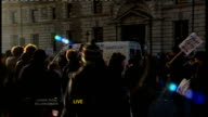 Students protest against rise in tuition fees LIVE shot of trashed police van surrounded by protesters