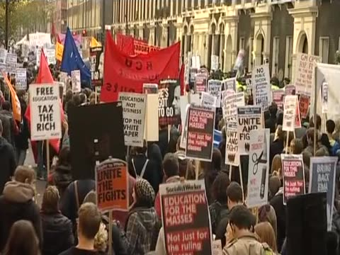 Students protest against the increase in university tuition fees