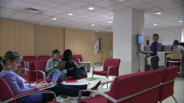 WS DS Students resting in lounge, Brooklyn, New York City, USA