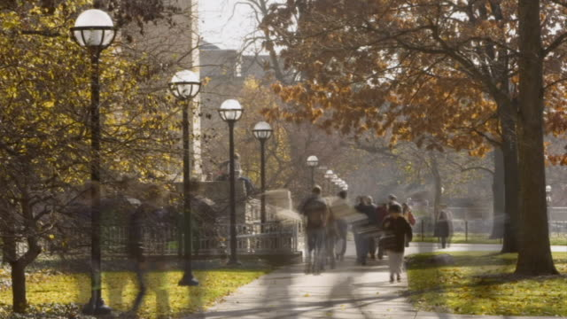 T/L WS Students walking through University of Michigan campus / Ann Arbor, Michigan, USA