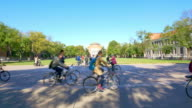 students with bikes in Tsinghua University 4k