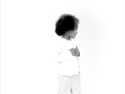 B&W, MS, Studio portrait of cute girl (4-5), Raleigh, North Carolina, USA