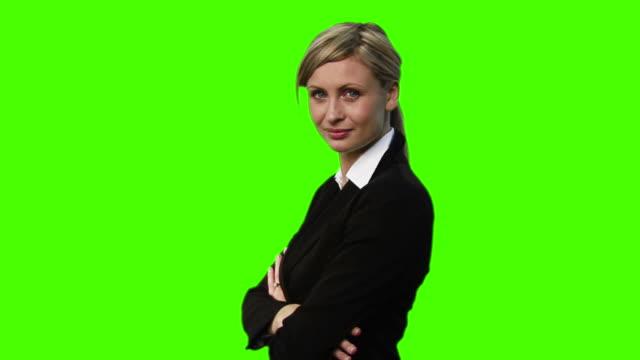 MS, Studio portrait of smiling businesswoman