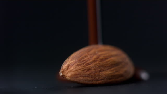 CU Studio shot of chocolate being poured on almond