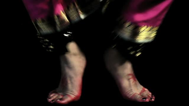CU, Studio shot of feet of Kuchipudi dancer, India