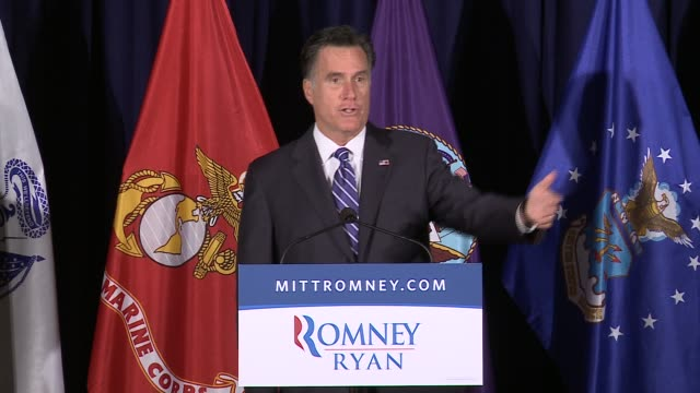 Stump speech bites include world is not a safe place sequestration peace thru strength Reagan quote and we can't afford 4 more years of Obama Mitt...