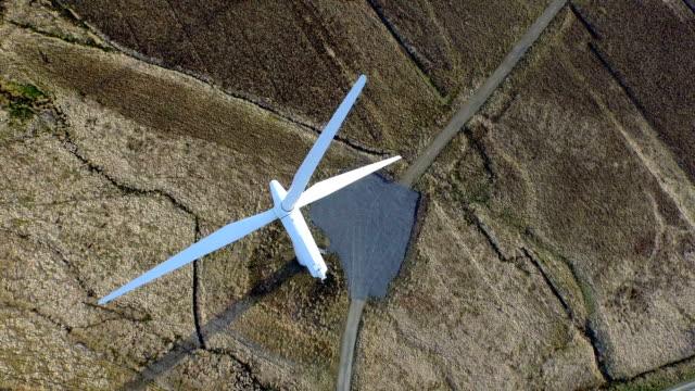 Stunning aerial shot of wind turbine's near Scrabster, highland, Scoland