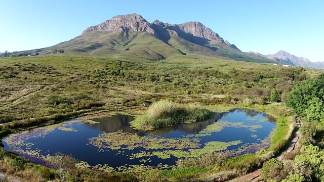 Stunning Fynbos Landscape with a dam Fly Over