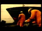 Stylized scenes of dockers working at Shoreham