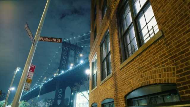 Stylized shot of Manhattan Bridge and building in Dumbo