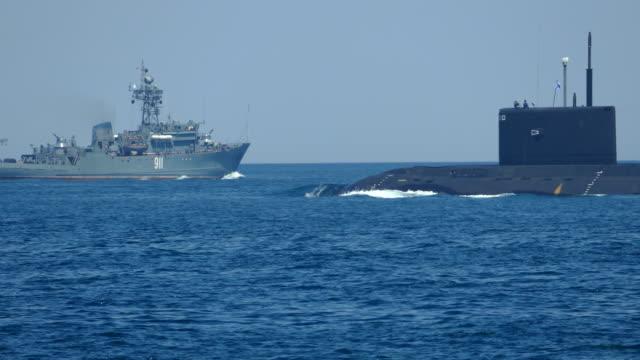 Submarine in naval exercises