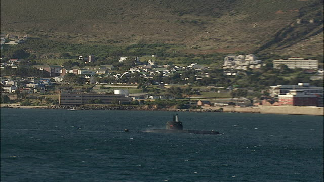 LOW AERIAL ZO Submarine venting tanks, Simon's Town in background, Cape of Good Hope, Western Cape, South Africa