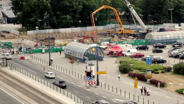 U-Bahn-Bau Website und Verkehr in Warschau, Polen