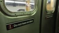 Subway doors arriving, opening, closing, departing, Close-up