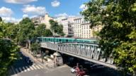 Subway full of people on the bridge at Barbès metro station