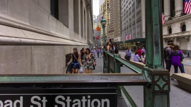 Subway Station Outside New York Stock Exchange - Timelapse