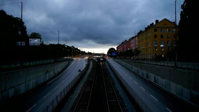 Subway Train at Dusk