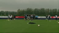 Success of Andros Townsend in his England debut Hertfordshire Wide shot England training session Townsend training with other England footballers
