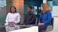 Successful Newham ALevel college dubbed the East End Eton ENGLAND London GIR INT Ashleigh Samuels Matthew Feyissa and Madeleine StAmour in studio...