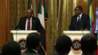 Sudanese President Omar alBashir holds a joint press conference with Ethiopian Prime Minister Hailemariam Desalegn at National Palace in Addis Ababa...
