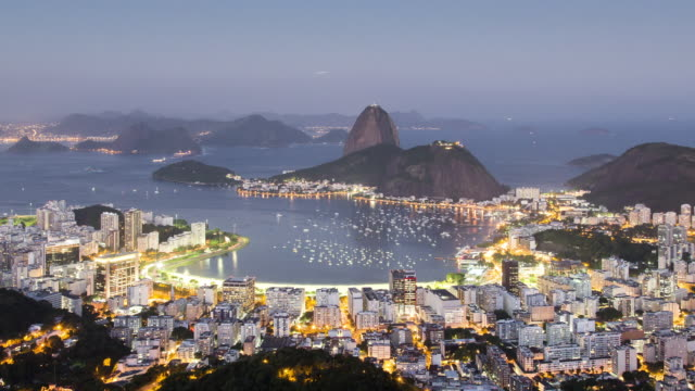 TL, MS, HA Sugar loaf mountain and Guanabara Bay day to night / Rio de Janeiro, Brazil