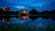 LD TL D2N WS of Sukhothai Historical Park, Mahathat temple reflecting in water