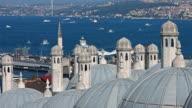 4K: Suleymaniye Mosque and Bosphorus Bridge; Istanbul, Turkey