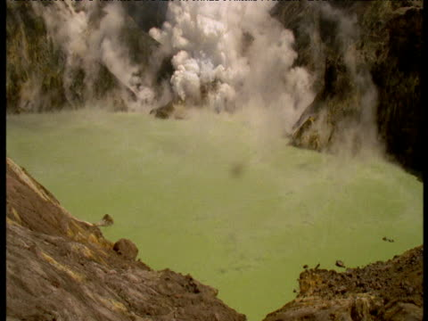 Sulphurous fumes rise from green lake, White Island, New Zealand