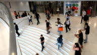 Summer afternoon rush hour people traffic at the Westfield World Trade Center / Westfield WTC is a shopping center at the World Trade Center complex...