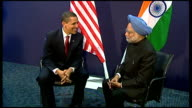 Barack Obama and Manmohan Singh photocall Manmohan Singh statement to press SOT your leadership has raised hopes of oppressed people throughout the...