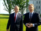 Blair Bush pkf on climate talks BAE payments to Saudi US missile defence system GERMANY Heiligendamm EXT George W Bush and Tony Blair MP up to press...