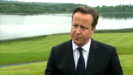 David Cameron interview on Syria NORTHERN IRELAND Belfast EXT David Cameron MP interview SOT On arming opposition in Syria / so that people in Syria...