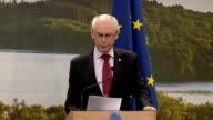 EU press conference NORTHERN IRELAND Enniskillen INT EU press briefing with EU Council President Herman Van Rompuy and EU Commission President Jose...
