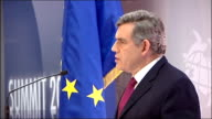 Gordon Brown press confernce ITALY L'Aquila INT Gordon Brown MP press conference / speech SOT difficult task for forces in Afhganistan owe debt to...
